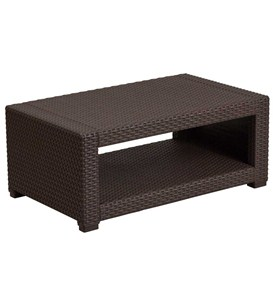 Faux Rattan Coffee Table - Chocolate Brown Image