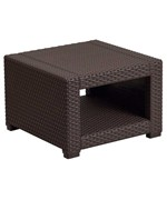 Faux Rattan End Table - Chocolate Brown