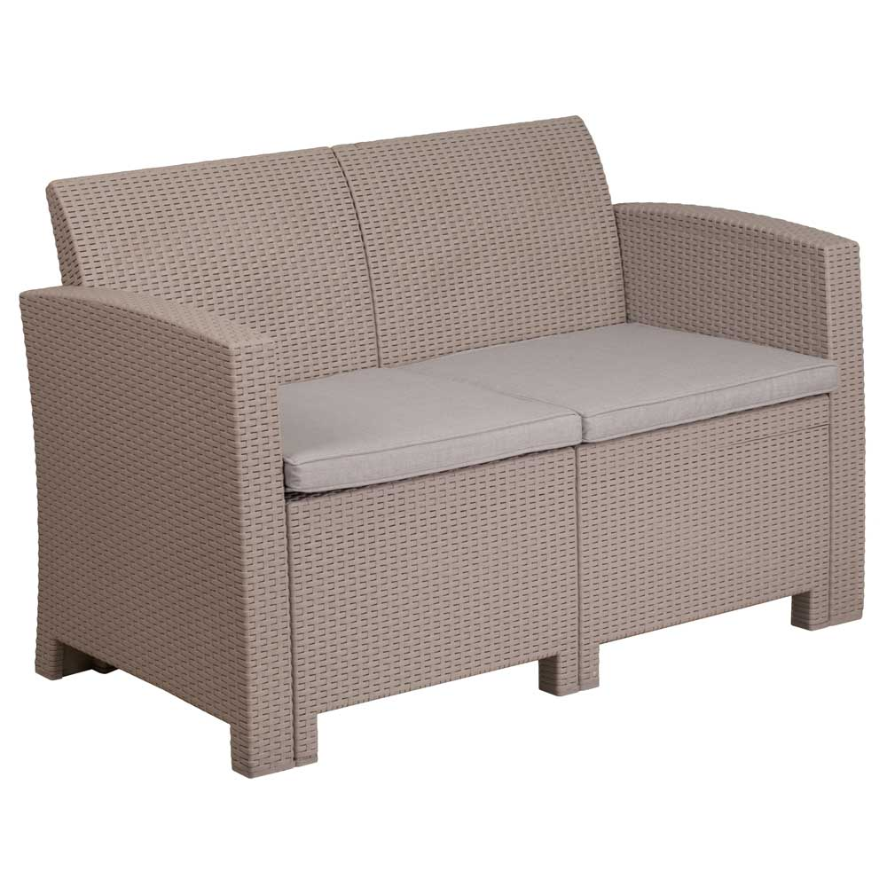 Faux Rattan Outdoor Loveseat Charcoal In Outdoor Sofas
