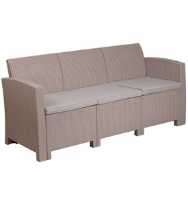 Faux Rattan Outdoor Sofa - Charcoal Image
