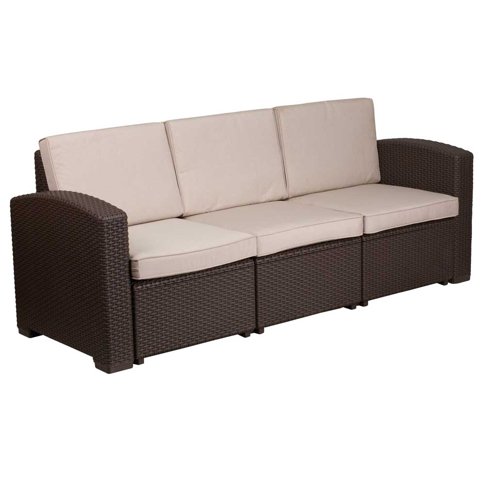faux rattan outdoor sofa chocolate brown in outdoor sofas. Black Bedroom Furniture Sets. Home Design Ideas