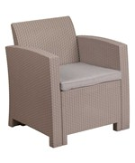 Faux Rattan Patio Chair - Charcoal