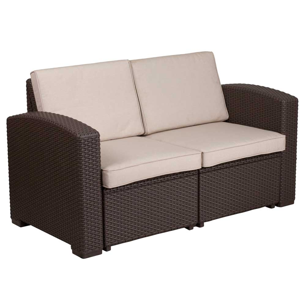 faux rattan outdoor loveseat chocolate brown in outdoor. Black Bedroom Furniture Sets. Home Design Ideas