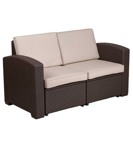 Faux Rattan Outdoor Loveseat - Chocolate Brown Image