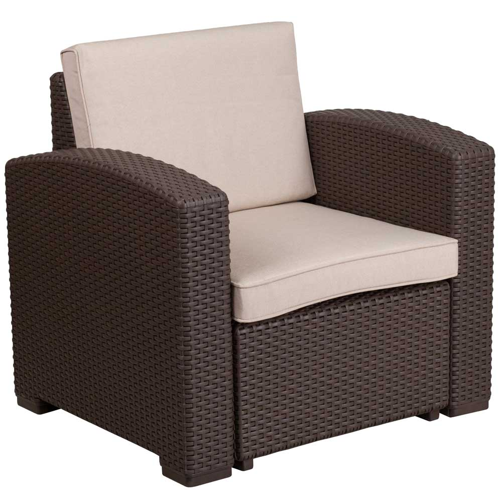 Faux Rattan Patio Chair Chocolate Brown In Outdoor Chairs