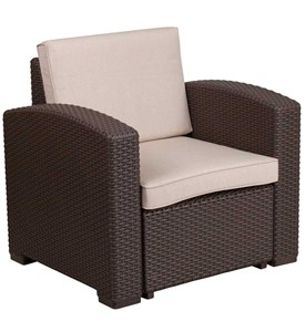 Faux Rattan Patio Chair - Chocolate Brown Image