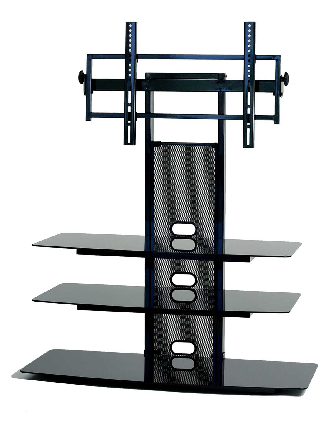 Black Glass Tv Stand With Flat Panel Tv Mount 32 52 Inch