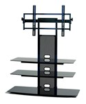 Black Glass TV Stand with Flat Panel TV Mount - 32-52 Inch