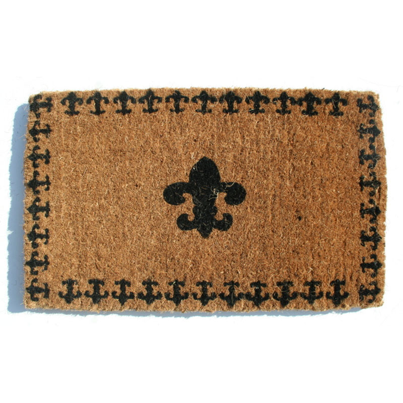 Fleur de lis coir welcome mat with border by imports decor in doormats - Fleur de lis doormat ...