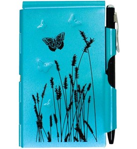 Flip Notes Pen and Notepad - Blue Butterfly Image