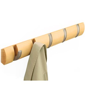 Wood Flip Hook Coat Rack - Natural Image