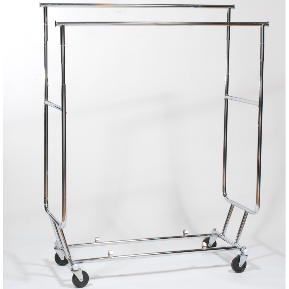 Folding Garment Rack Dual Hang Rails In Clothing Racks