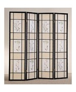 Folding Room Divider - 4 Panels with Floral Print