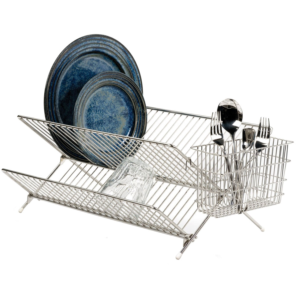 folding stainless steel dish rack in dish racks. Black Bedroom Furniture Sets. Home Design Ideas