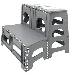 Folding Two Step Stool - Gray Image