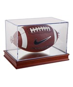 Acrylic Football Display Case with Wood Base