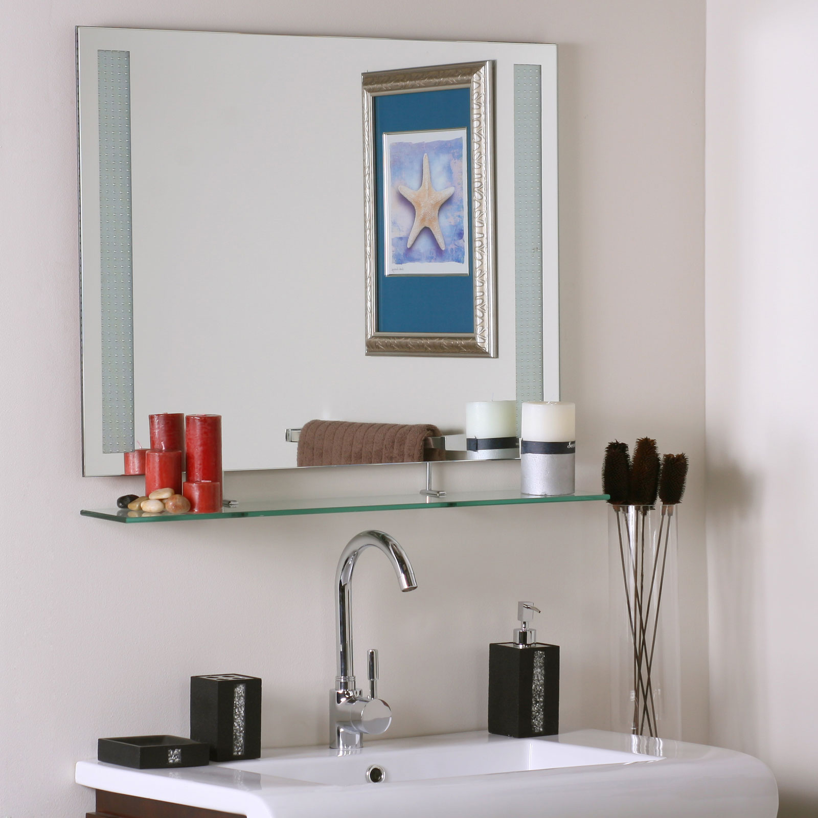 Frameless Bathroom Mirror With Shelf In Frameless Mirrors