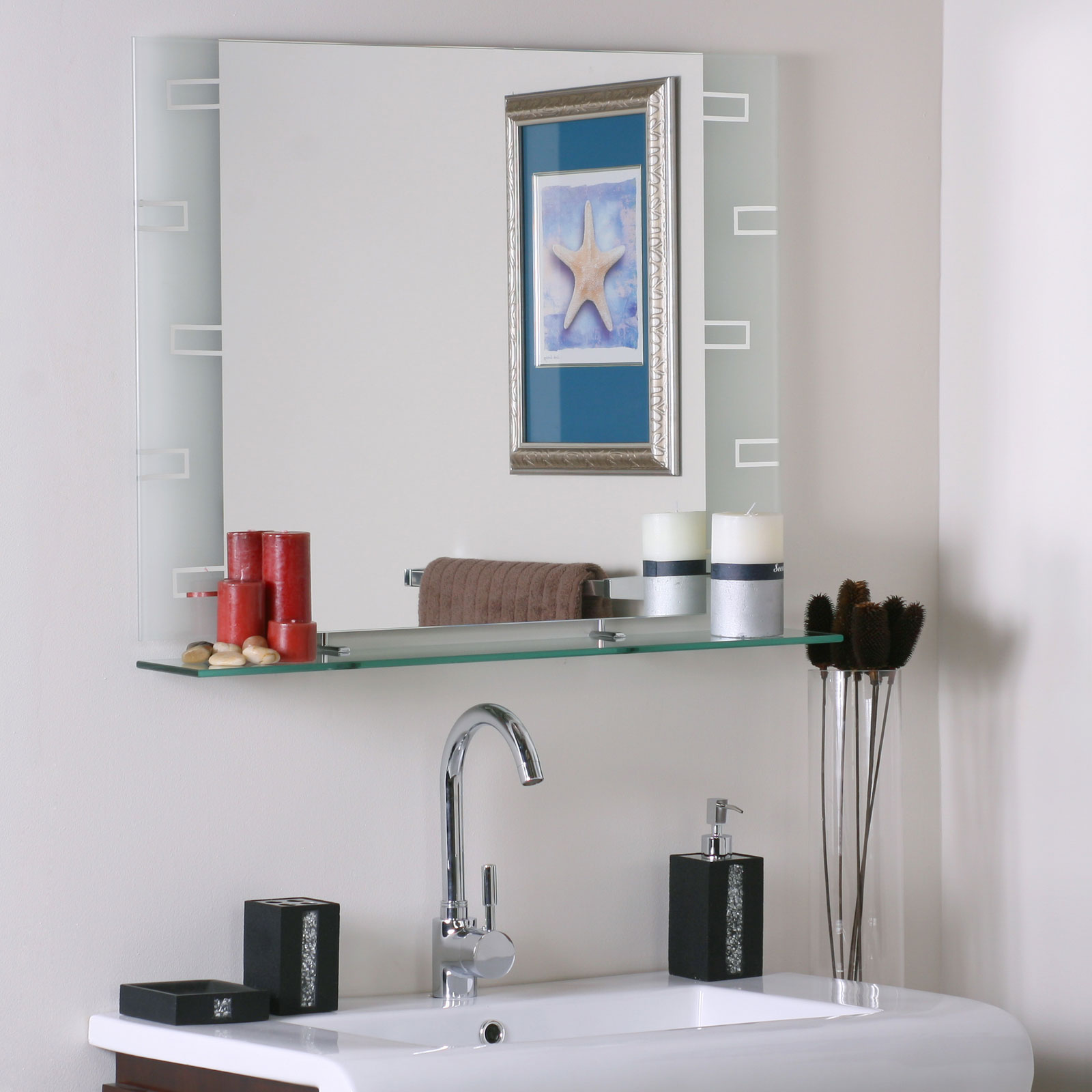 Frameless Contemporary Bathroom Mirror With Shelf Image