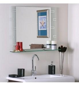 Frameless Contemporary Bathroom Mirror with Shelf in Frameless Mirrors