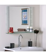 Frameless Contemporary Bathroom Mirror with Shelf