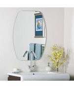Frameless Oval Beveled Mirror