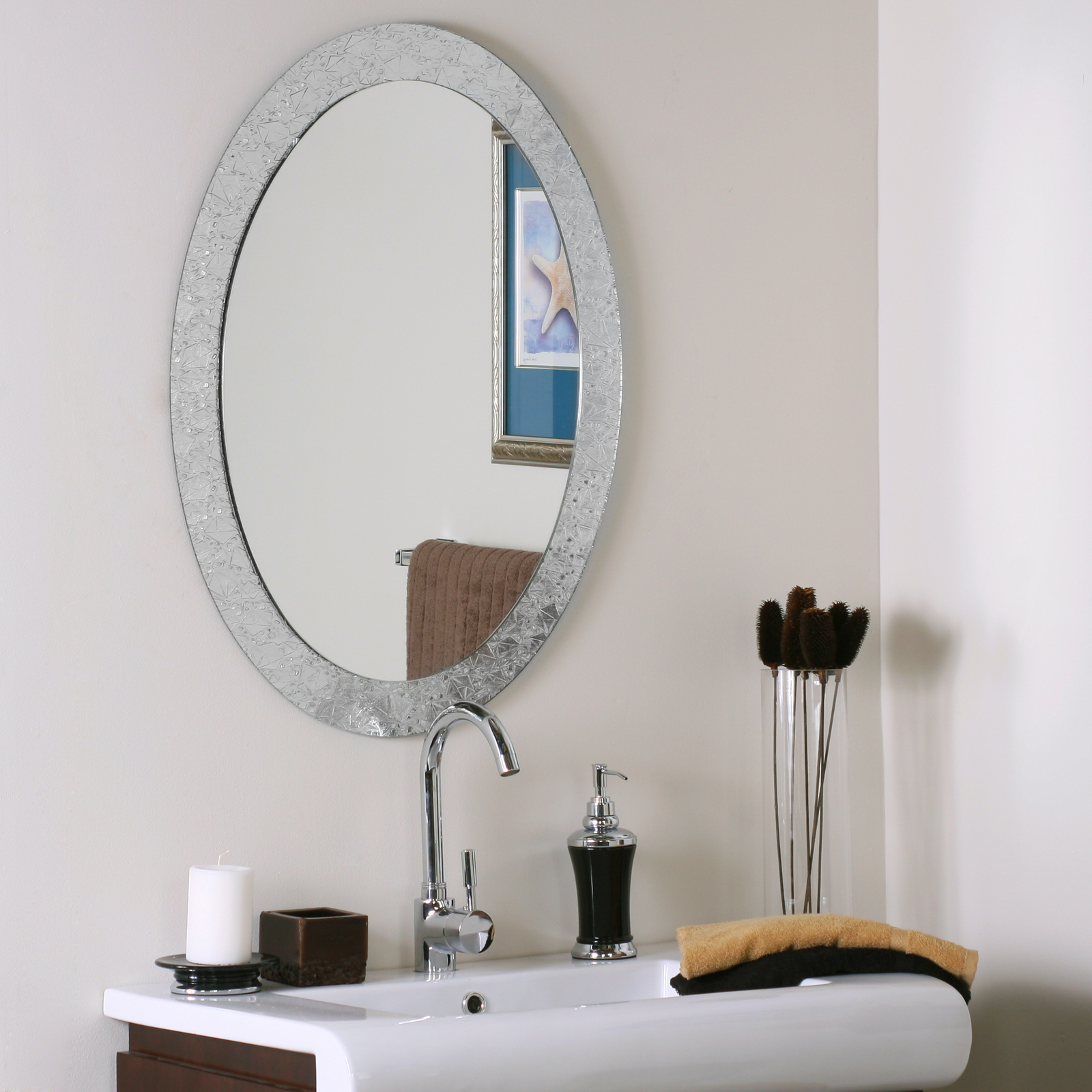 Frameless Oval Wall Mirror In Oval Mirrors