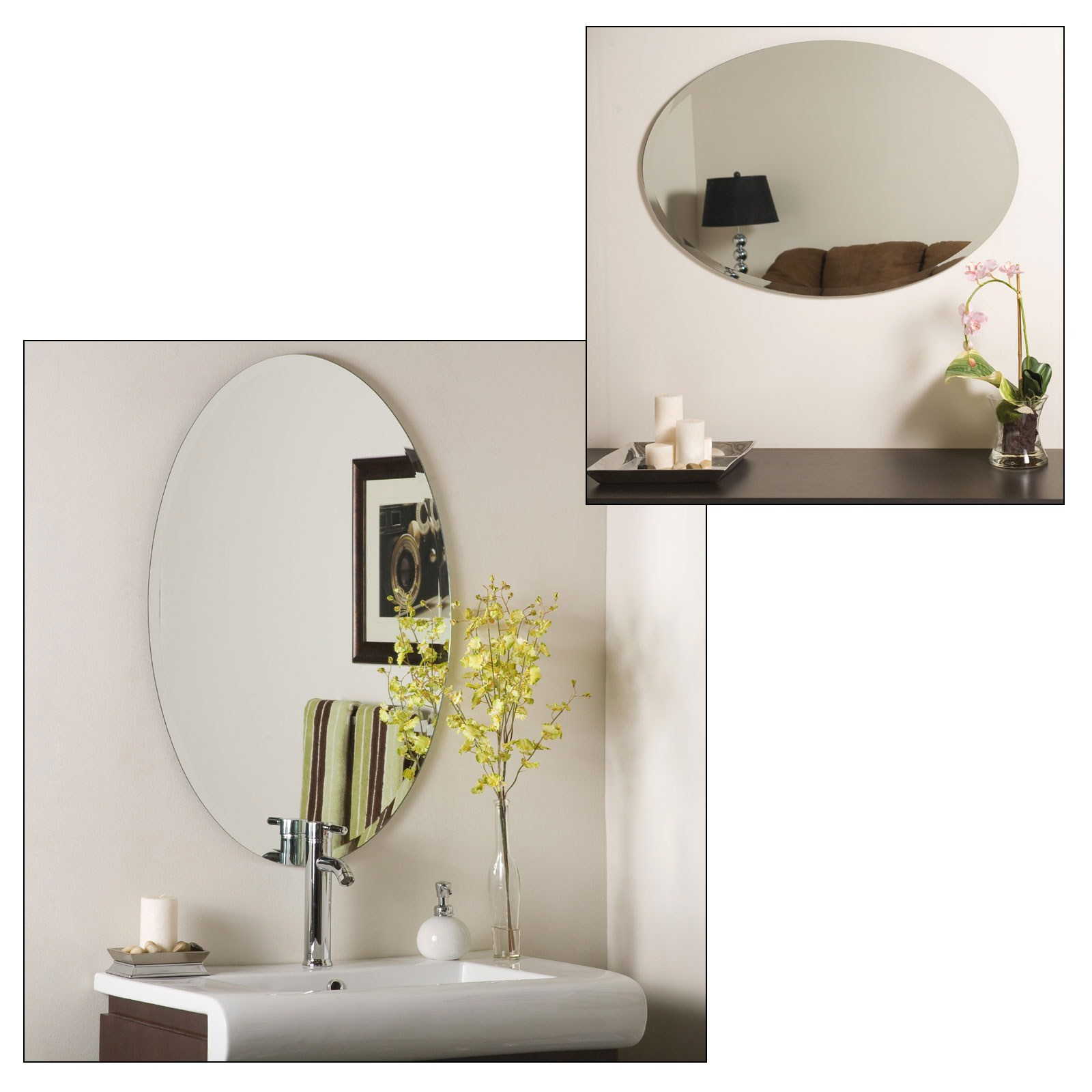 Beveled Bathroom Vanity Mirrors Frameless Contemporary Bathroom ...