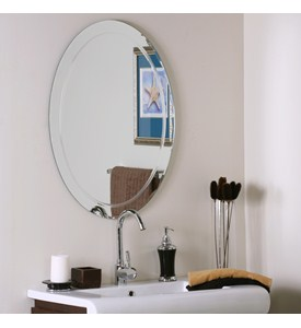 Frameless Oval Wave Wall Mirror Image