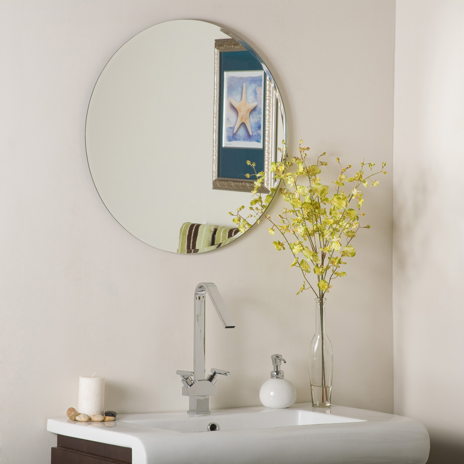 Frameless Round Beveled Mirror Image