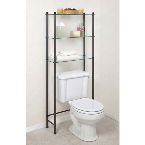 Free standing bathroom shelf in over the toilet shelving for Bathroom over the toilet shelf