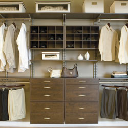 freedomRail Closet Systems in Chocolate Pear with Nickel hardware
