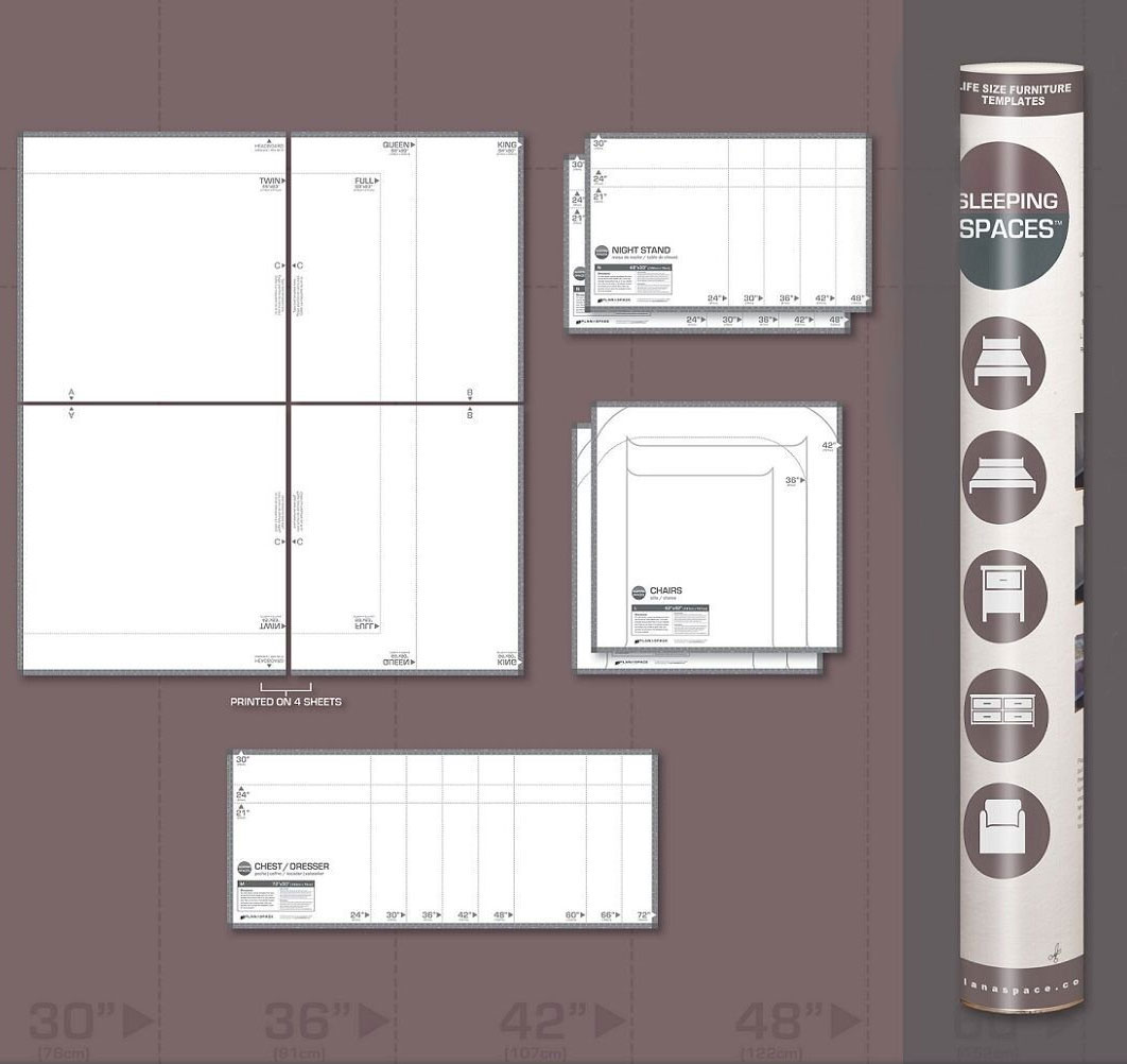 Life size furniture templates bedroom space in furniture for Furniture templates for room design