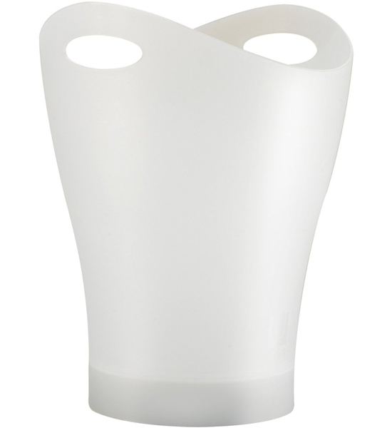 Garbino Curved Trash Can - Translucent White in Small ...