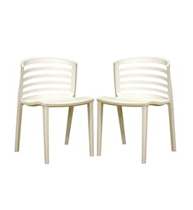 Gioia White slat back Side Chair (Set of 2) by Wholesale Interiors Image