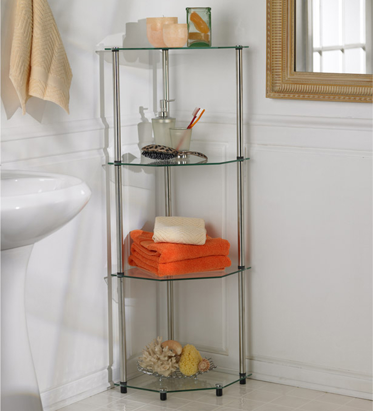 glass four tier corner shelf by convenience concepts in bathroom shelves. Black Bedroom Furniture Sets. Home Design Ideas