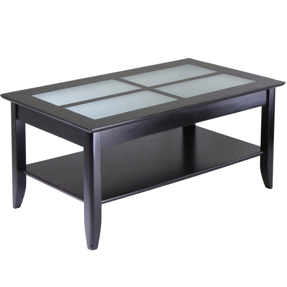 Glass top coffee table with shelf espresso in coffee tables for Coffee tables glass top