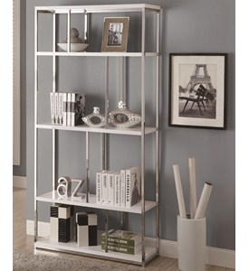 72 Inch Metal Bookcase - Glossy White Image