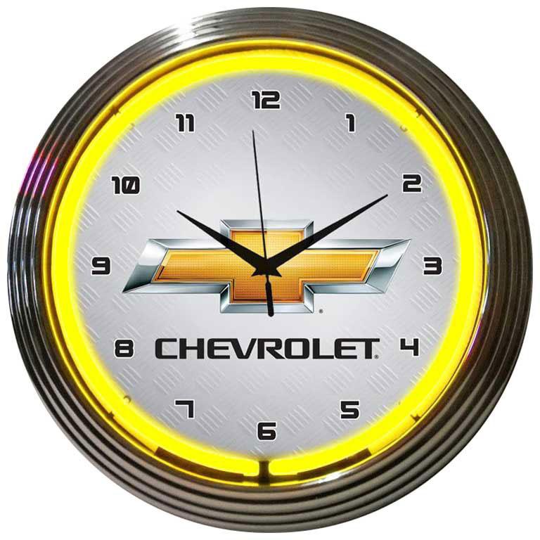 GM Chevrolet Yellow Neon Clock by Neonetics in Wall Clocks