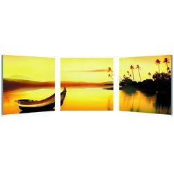 Golden Sunset Mounted Photography Print Triptych by Wholesale Interiors Image