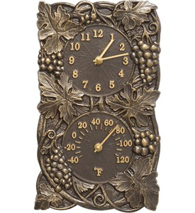 Grapevine Outdoor Thermometer and Clock Image