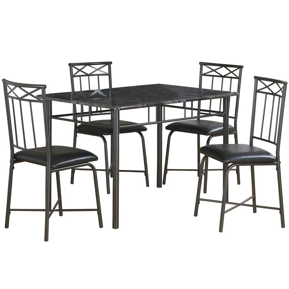 Dining Table Set Gray Marble And Charcoal Set Of 5 In