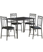 Dining Table Set - Gray Marble and Charcoal