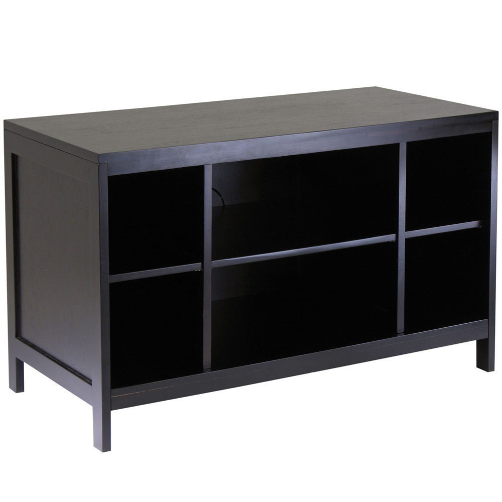 Hailey flat panel tv stand espresso in tv stands for Flat screen tv console cabinet