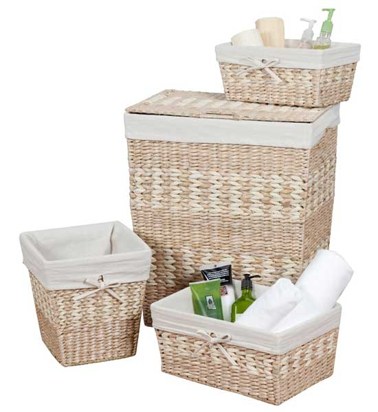 Soft Rush Lidded Rectangular Lined Storage Basket: Rush And Maize In Wicker Baskets