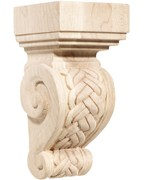 Hand Carved Wood Corbel - Rattan