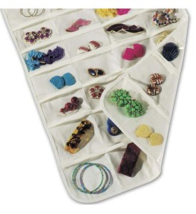 Hanging 80-Pocket Canvas Jewelry Organizer Image