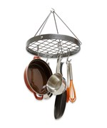 Hanging Circle Pot Rack - Hammered Steel