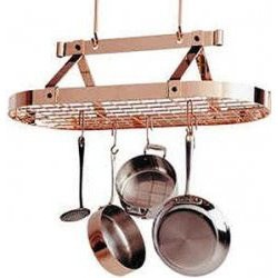 Hanging Pot Rack with Grid - Copper Image