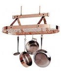 Hanging Pot Rack with Grid - Copper