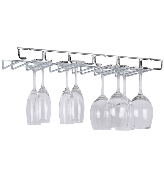 hanging wine glass rack chrome image - Hanging Wine Glass Rack